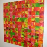 Mosaik rot-orange-grün
